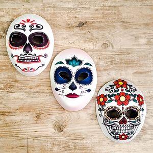 Family Set of 3 Sugar Skull Day of the Dead Masks